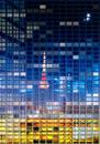 東京の町並みが映る夜のビル