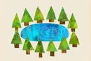 木々と池のイラスト