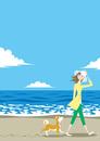 渚で散歩する女性と犬