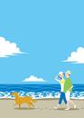 渚で散歩する夫婦と犬