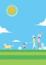 快晴の芝の丘を散歩する家族と犬