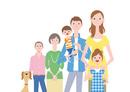 並んだ三世帯家族と犬