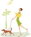 犬の散歩をする女性と手紙を運ぶ鳥