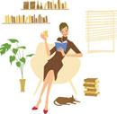 お茶を飲みながら本を読む女性
