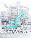 都会の中の工事現場