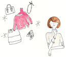 洋服やバッグ、アクセサリーを思い浮かべている女性