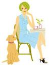 カフェで犬とくつろぐ女性