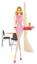 カフェで立っている女性