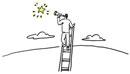 はしごにつかまって望遠鏡で星を見る男性