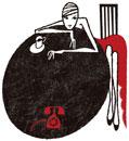 コーヒーを飲む赤いドレスを着た女性