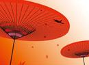 紅葉と飛行機