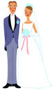 ウェディングドレスをきたカップル