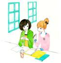 勉強しながら会話している二人の学生