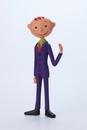 紫のスーツを着た男性