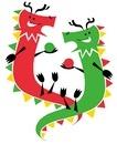 仲良くしている赤い龍と緑色の龍
