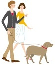 犬の散歩をするカッフ?ル
