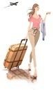 飛行機と旅行カバンをひく女性