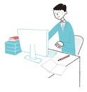 パソコンで仕事をしている男性会社員