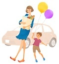 買い物袋を抱えた母親と子供と車