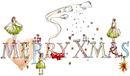merryxmasの文字と女性とクリスマスモチーフ