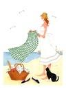 猫と海辺でピックニックをしている女性