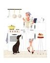 犬と台所でレシピの本を読んでいる女性