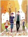 並木道を手をつないで歩く家族