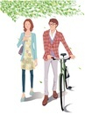 自転車とカップル
