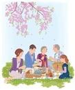 花見をする家族