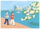 川の近くにジョギングをしているカップル