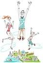 緑のある街、楽しくジャンプをしている家族