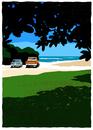 木陰からみた砂浜に止まっている車