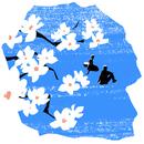 桜の花と座る二人のシルエット