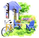 白い家の壁においてある黄色い自転車と青い椅子