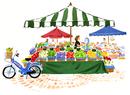 野菜やフルーツを売っている市場とバイク