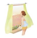 窓辺のプランターに水をやる女の子