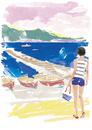 桟橋を眺める女性