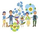 花に囲まれた家族