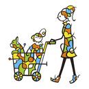 ベビーカーで散歩をする親子