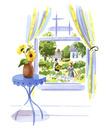 向日葵と窓から見える景色