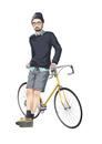 自転車によりかかる男性