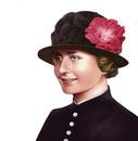 クラシカルな帽子を被った肖像画風の女性