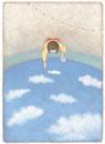縁日で雲すくいをする浴衣の少女