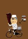 自転車で出前する蕎麦屋