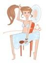 髪を結ぶ女性