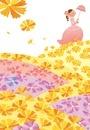 春の花の丘を歩く女の子