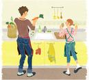 キッチンにいる夫婦(カップル)