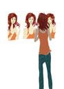 三面鏡を使う女性