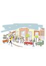 ショッピングモールと買い物客