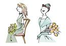 ブーケを持つウエディングドレスの女性